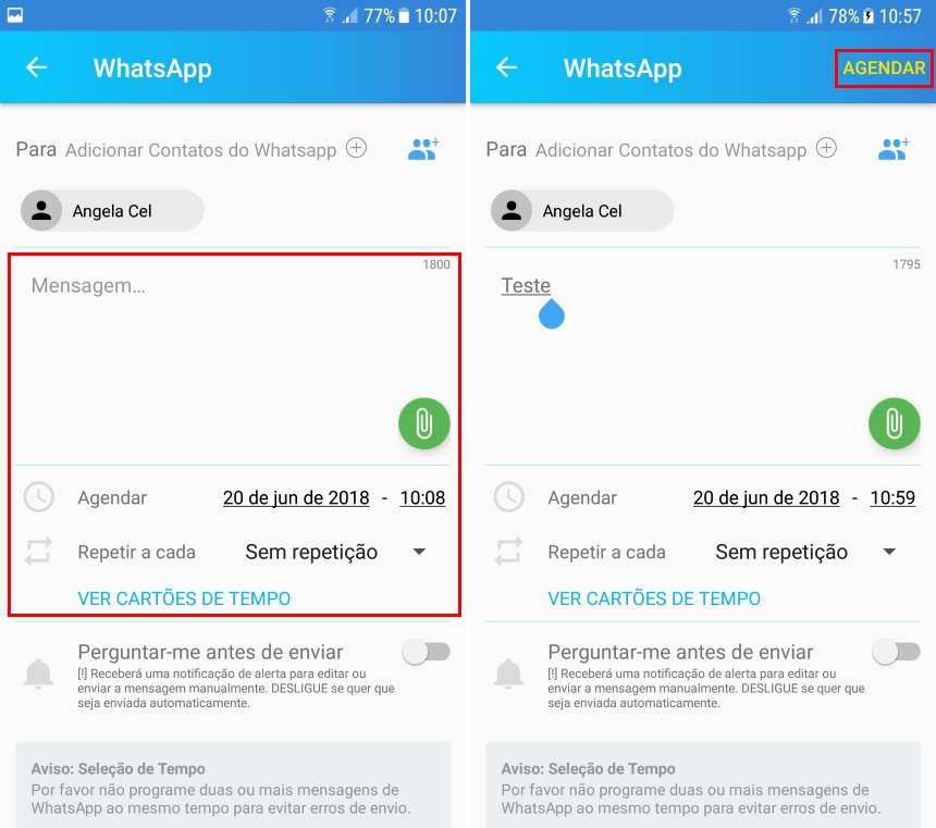 agendar mensagens no WhatsApp